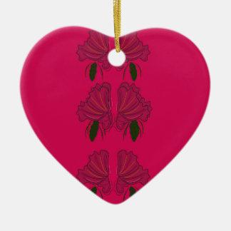 Rosa ethno Vintage Blumen Keramik Herz-Ornament