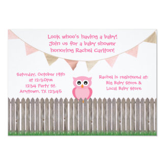 Rosa Eule auf Zaun-Babyparty-Einladung
