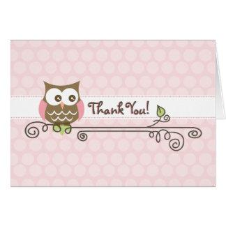 Rosa Eule danken Ihnen zu kardieren Karte