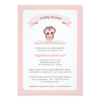 Rosa Eule holen eine Buch-Babyparty-Einladung 12,7 X 17,8 Cm Einladungskarte