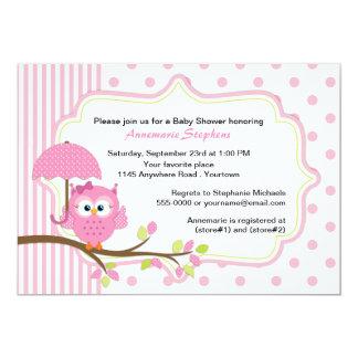 Rosa Eule mit Regenschirm-Mädchen-Babyparty 12,7 X 17,8 Cm Einladungskarte