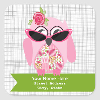 Rosa Eule mit Sonnenbrille-Adressen-Aufkleber Quadrat-Aufkleber