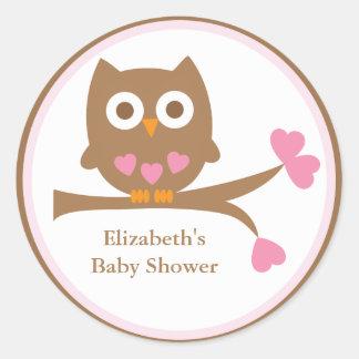 Rosa Eulen-Baby-Duschen-Umschlag Aufkleber