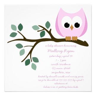 Rosa Eulen-Babyparty-Einladung