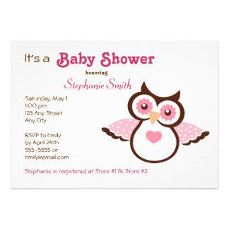Rosa Eulen-Babyparty Ankündigungskarten
