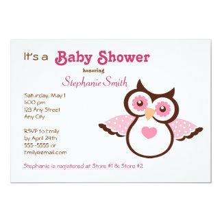 Rosa Eulen-Babyparty 12,7 X 17,8 Cm Einladungskarte