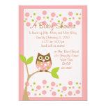 Rosa Eulen-Babyparty-Einladung 12,7 X 17,8 Cm Einladungskarte