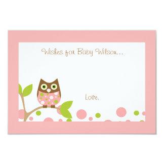 Rosa Eulen-Babyparty-Einladung 8,9 X 12,7 Cm Einladungskarte