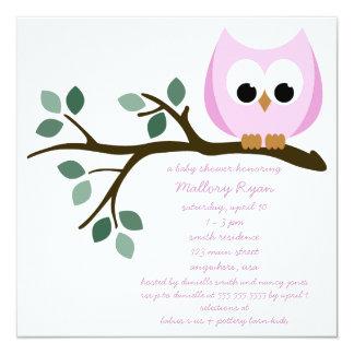 Rosa Eulen-Babyparty-Einladung Quadratische 13,3 Cm Einladungskarte