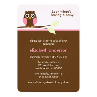 Rosa Eulen-Babyparty-Einladungen 12,7 X 17,8 Cm Einladungskarte