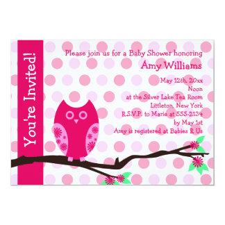 Rosa Eulen-Babyparty-Einladungen (flache Karte)