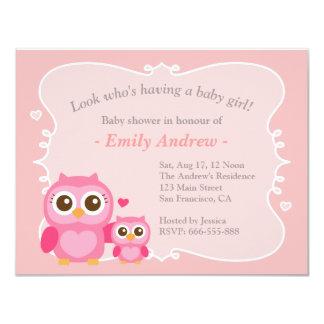 Rosa Eulen-Babyparty, -mama und -kind Personalisierte Ankündigungskarte