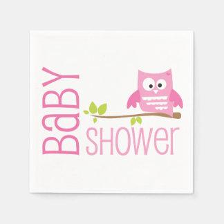 Rosa Eulen-Babyparty-Serviette Papierserviette