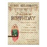 Rosa-Eulen-Geburtstags-Einladung 14 X 19,5 Cm Einladungskarte