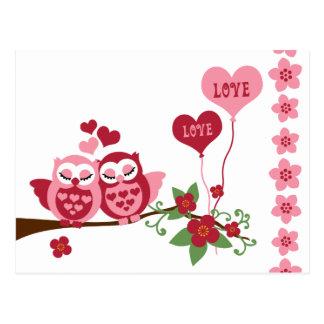 Rosa Eulen-Liebe Postkarten