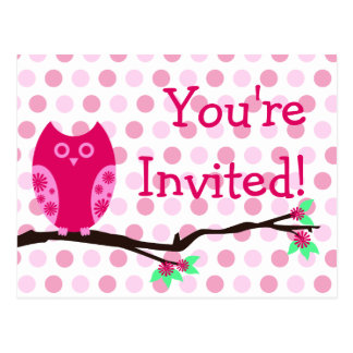 Rosa Eulen-Postkarten-Babyparty-Einladungen