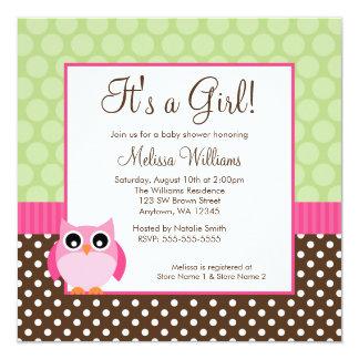 Rosa Eulen-Tupfen-Mädchen-Babyparty Browns grüne Quadratische 13,3 Cm Einladungskarte