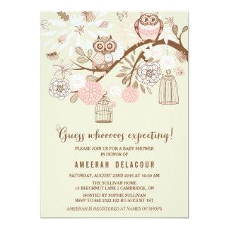 Rosa Eulen und Birdcages-Babyparty-Einladung