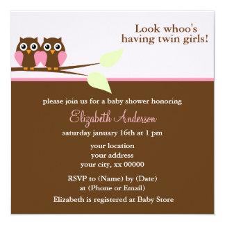 Rosa Eulen-Zwillings-Babyparty Quadratische 13,3 Cm Einladungskarte