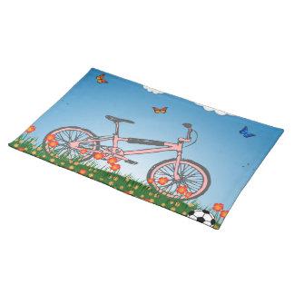Rosa Fahrrad Stofftischset