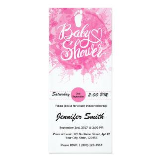 Rosa Farben-Spritzer-Abdruck-Baby-Dusche laden ein 10,2 X 23,5 Cm Einladungskarte