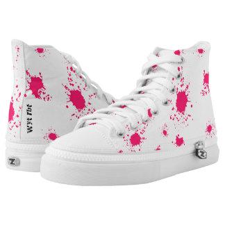 Rosa Farbenspritzen städtische Übertreibung Hoch-geschnittene Sneaker