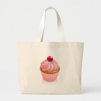 Rosa feenhafter Kuchenkleiner kuchen mit Kirsche Tragetasche