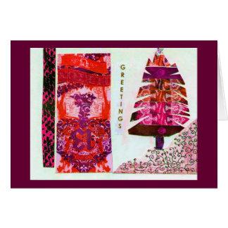 Rosa Feiertags-Baum-Collage Karte