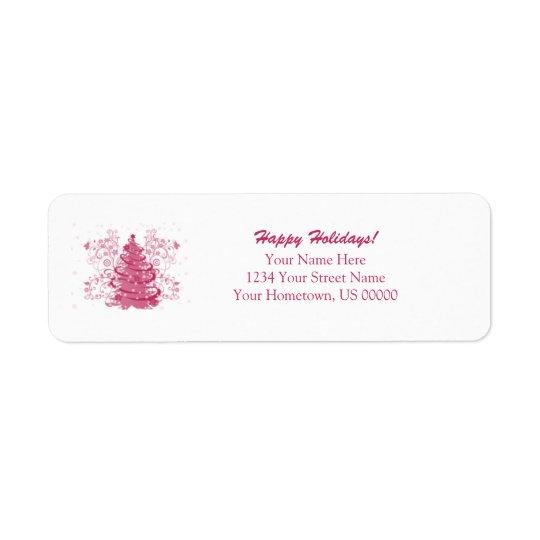 Rosa Feiertags-Baum-Rückkehr-Aufkleber Rücksende Aufkleber
