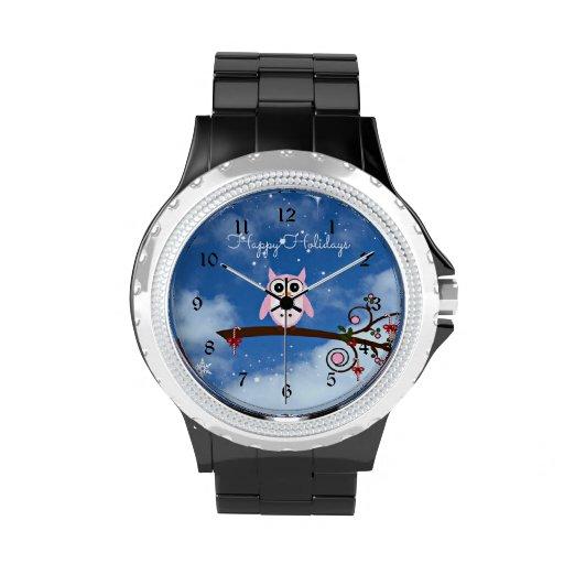 Rosa Feiertags-Eule Uhr