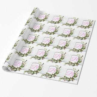 Rosa Fenster-Monogramm B Geschenkpapier