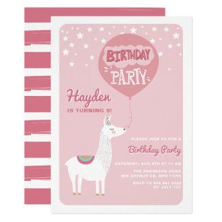 Rosa festliche Alpaka-Kindergeburtstag-Party Karte