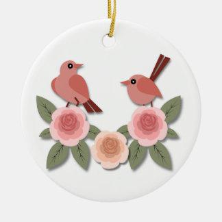 Rosa Finke auf rosa Pfingstrosen Keramik Ornament