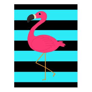Rosa Flamingo auf aquamarinem und Schwarzem Postkarte