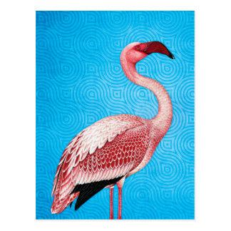 Rosa Flamingo auf Retro blauem Muster Postkarte