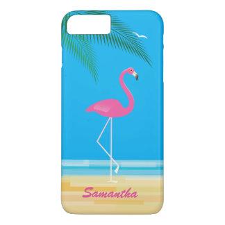 Rosa Flamingo auf Strand iPhone 7 Plusfall iPhone 8 Plus/7 Plus Hülle