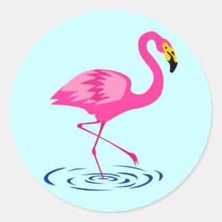 Rosa Flamingo Runder Aufkleber