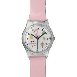 Rosa Flamingo genießen Sommer-Mädchen-Uhr Armbanduhr