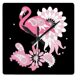Rosa Flamingo-Girly cooles kundenspezifisches Quadratische Wanduhr