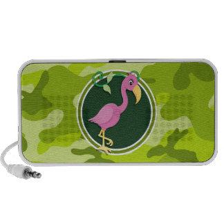 Rosa Flamingo hellgrüne Camouflage Tarnung Tragbare Lautsprecher