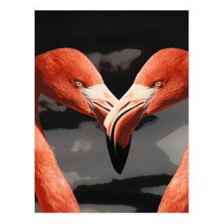 Rosa Flamingo-Liebe-Herz-Form-Valentinstag Postkarte