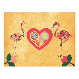 Rosa Flamingo-Liebe Postkarte