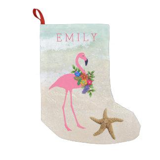 Rosa Flamingo-Mädchen-Strand Kleiner Weihnachtsstrumpf