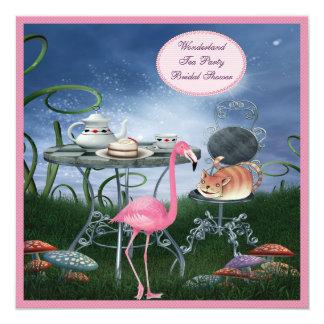 Rosa Flamingo-Märchenland-Tee-Party-Brautparty Quadratische 13,3 Cm Einladungskarte