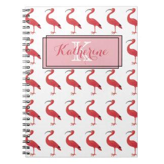 Rosa Flamingo-Monogramm - Kunst-Notizbuch Notizblock