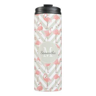 Rosa Flamingo-Muster mit Ihrem Monogramm Thermosbecher