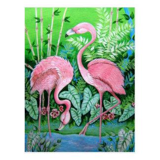 Rosa Flamingo-Postkarte