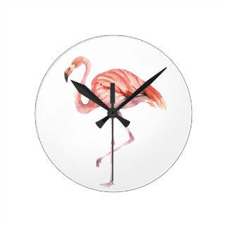Rosa Flamingo Runde Wanduhr
