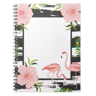 Rosa Flamingo-Schwarzweiss-Streifen Spiral Notizblock