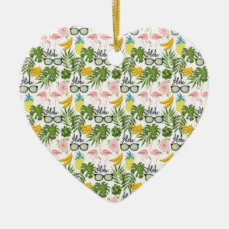 Rosa Flamingo-Sonnenbrille-tropisches Aloha Muster Keramik Herz-Ornament